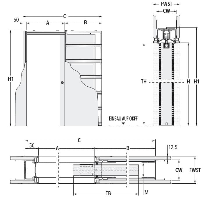 Schiebetür - Systeme Syntesis Line EF Trockenbau Maßzeichnung Standard