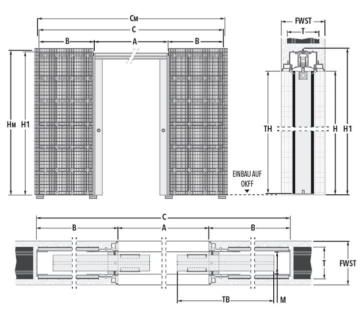 Schiebetür - Systeme Syntesis Line DF Massivbau Maßzeichnung Standard