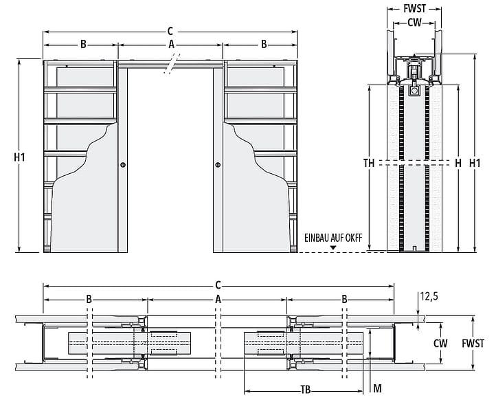Schiebetür - Systeme Syntesis Line DF Trockenbau Maßzeichnung Standard