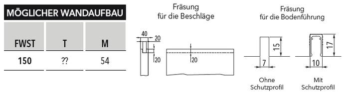 Schiebetür - Systeme Syntesis Line EF Massivbau Maßtabelle und Fräsung Standard