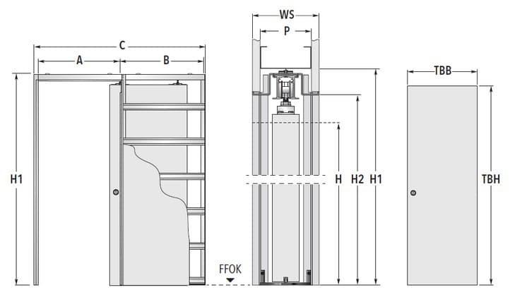 Eclisse Unico EF Trockenbau Masszeichnung Standard