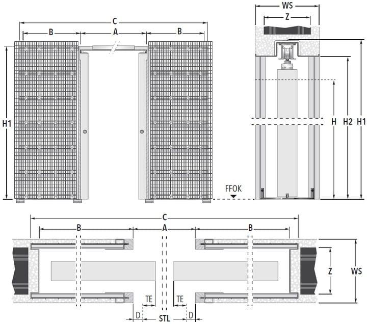 Eclisse UNICO DF Massivbau Masszeichnung Standard