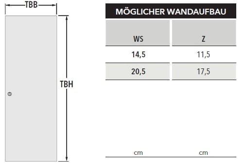 UNICO EF Massivwand Masstabelle Wandaufbau Türblatt