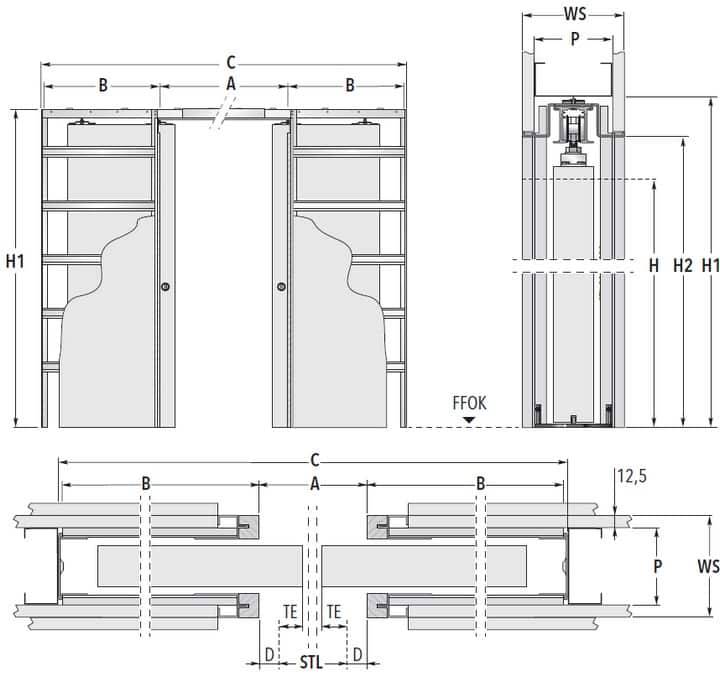 UNICO DF Trockenbau Masszeichnung Standard