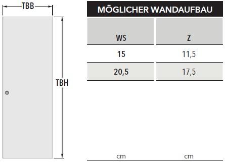 Unico Luce DF Massivbau Wandaufbau Türblatt