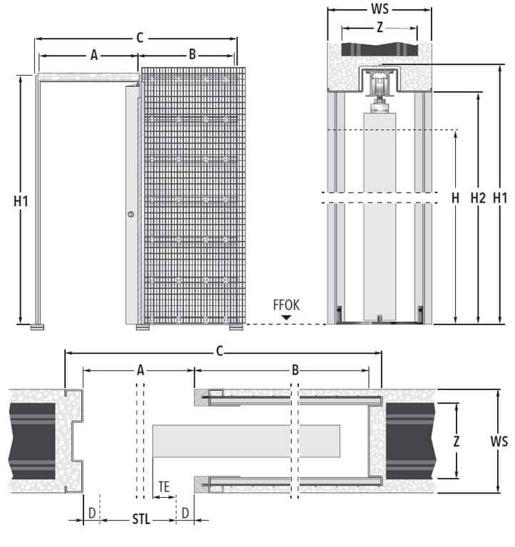 Unico EF Massivwand Masszeichnung Standard