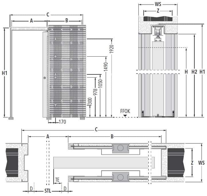 Unico Luce EF Massivbau Maßzeichnung Standard