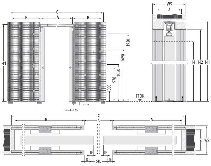 Unico Luce DF Massivbau Maßzeichnung Standard