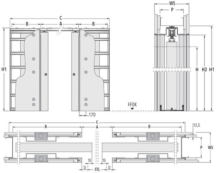 Unico Luce DF Trockenbau Masszeichnung Standard